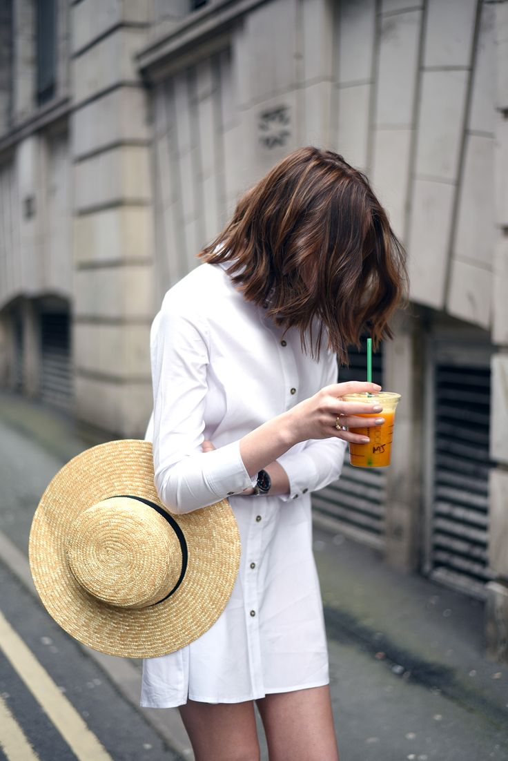 Simple Button-down White Shirt Dress Worn With A Great Straw Hat - This Is A Perfect Summer In The City Outfit!