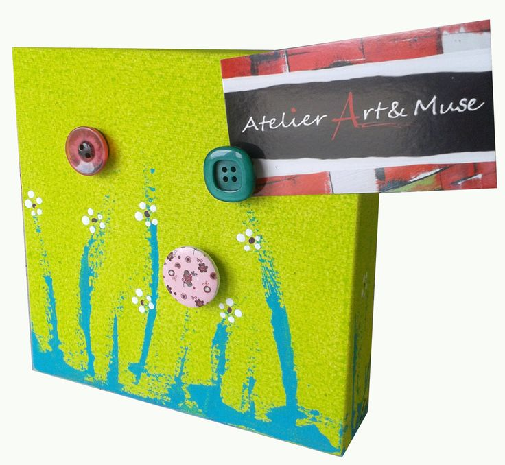 Toile aimantée, boutons aimantés, fleurs, verte , cadre, peinture abstraite, aimants, oeuvre unique, personnalisée, décoration de la boutique AtelierArtetmuse sur Etsy