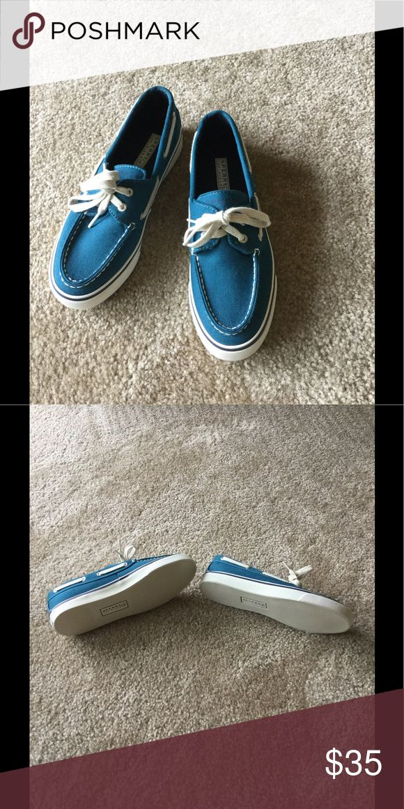 FINAL PRICE Never worn Sperry canvas dock shoes Dark teal, never worn. Sperry Shoes Flats & Loafers