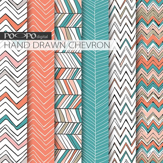 Chevron digital paper hand drawn chevron pattern scrapbooking mint and coral turquoise orange zig zag modern image tribal doodle chevrons