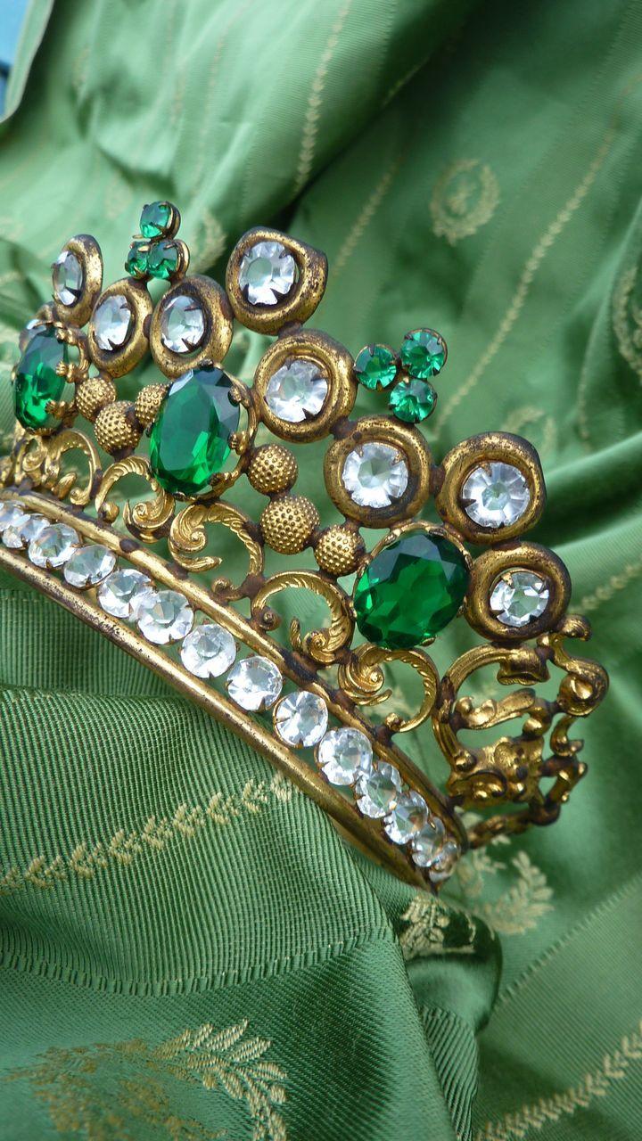 Splendid antique French ormolu jeweled crown tiara paste stones