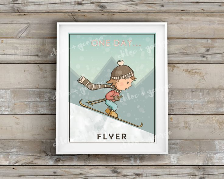 """Kids Wall Art FLYER GIRL 8x10"""" & A4 Kids Wall Prints Childrens Wall Art Kids Room Decor Kids Room Art Nursery Decor Nature Mountain Skiing by ChloeandGeorge on Etsy"""