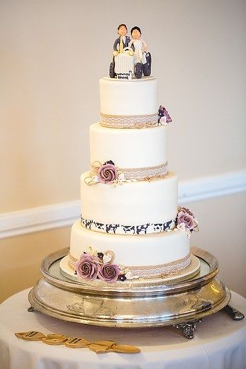Love the little touch of cows on an otherwise classic cake. :) Winter Wedding at the Cliff Hotel with Carys and Rhys – Whole Picture Weddings