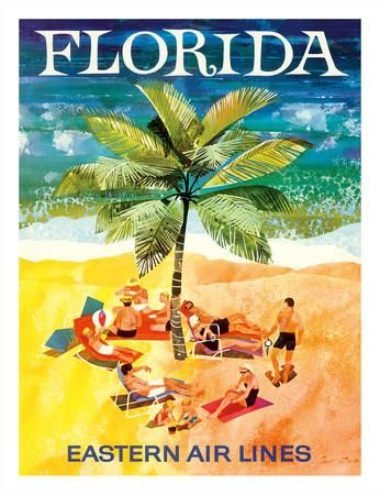 Florida - Eastern Air Lines - Sunbathers around Palm Tree Giclee Print by Jane Oliver at Art.com