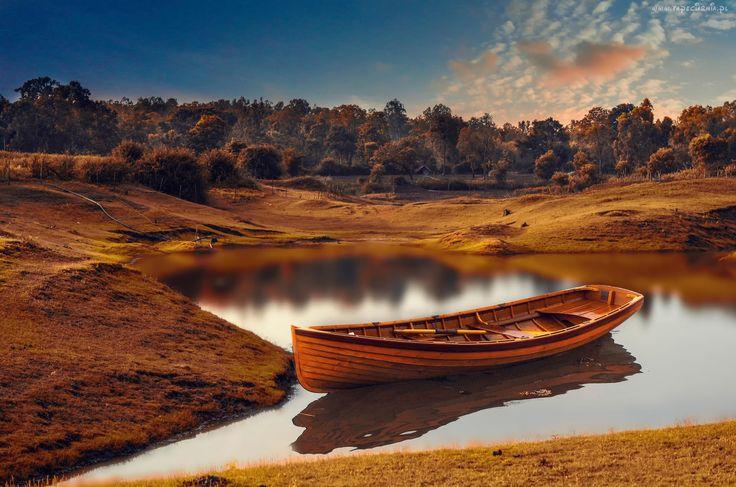 Łódka, Rzeka, Drzewa, Jesień