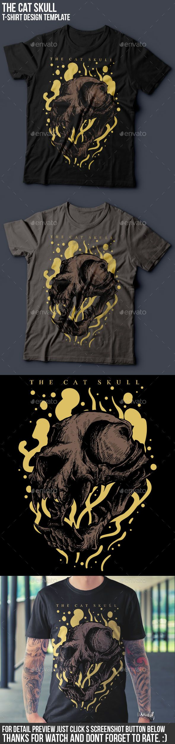 The Cat Skull T-Shirt illustration Design Template PSD. Download here: http://graphicriver.net/item/the-cat-skull-tshirt-design/16048265?ref=ksioks