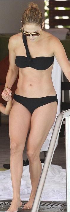 Who made  Jennifer Lopez's black one shoulder bikini that she wore in Miami?