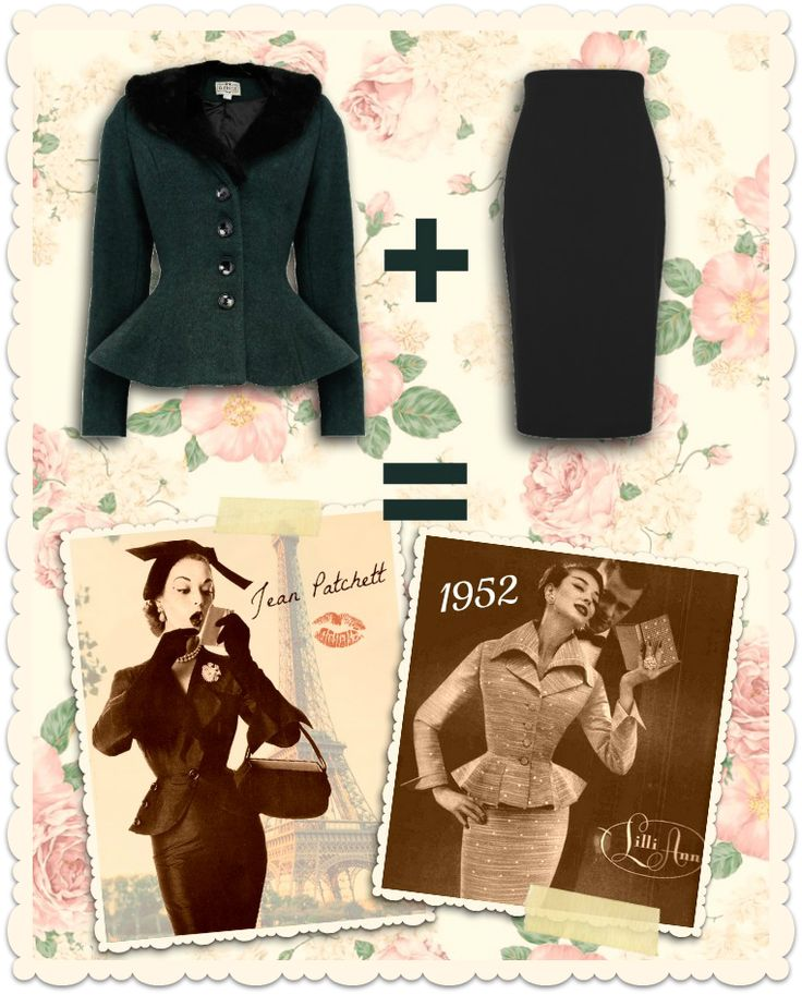 Collectif Vintage - Veste peplum rétro années 50 Deana laine vert bouteille et fausse fourrure + jupe crayon taille haute noire Fiona - missretrochic.com