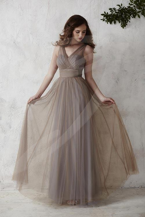 Balletts Bridal - 22377 - Bridesmaids by Jacquelin Bridals Canada - Flowing with elegance, this semi A-line full tulle overlay gown is complete with a V-neck tank-style bodice and thick waistband accented with a sparkling brooch. Pictured in: Mocha/Platinum