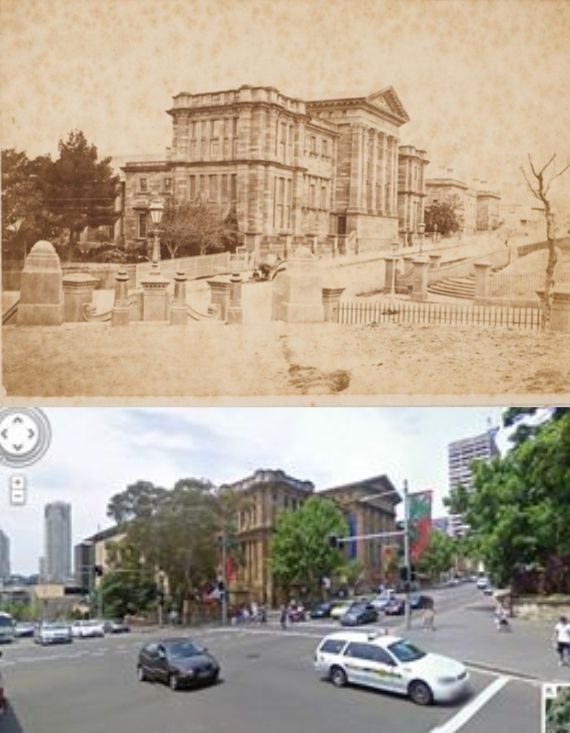 Australian Museum, College St, Sydney in 1880s and today