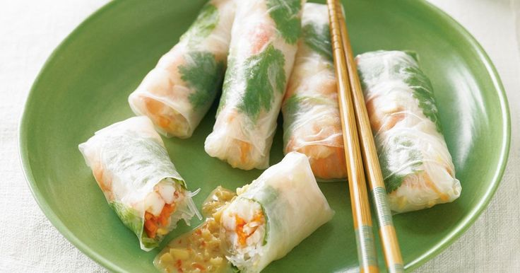 King prawns in these rice paper spring rolls make a tasty treat for the whole family.