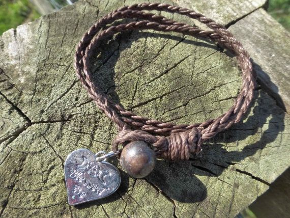 Blessed Be Simple Waxed Thread Braided 3x Wrap by PhoebesBazaar