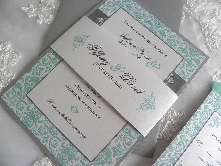 Ivory,tiffany Blue, Gray Invitation | Aqua/Tiffany Blue And Pewter Damask  Wedding