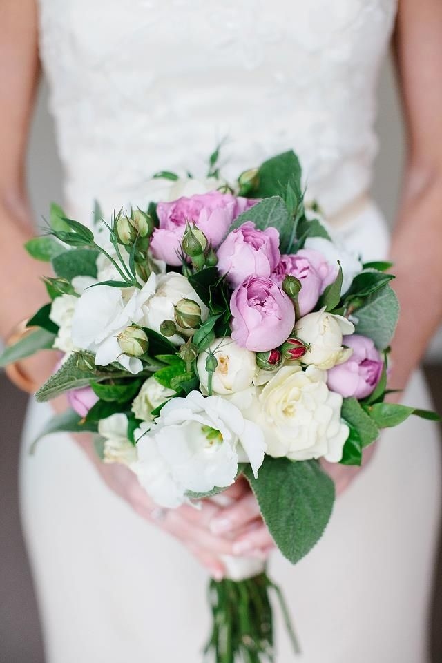 Roughly rounded, soft bridal bouquet of fresh and pink david austen roses, lisianthus and lambs ear foliage. www.jademcintoshflowers.com.au