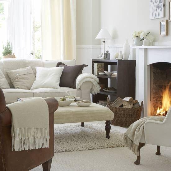 Warm white living room | Living room furniture | Decorating ideas | housetohome.co.uk