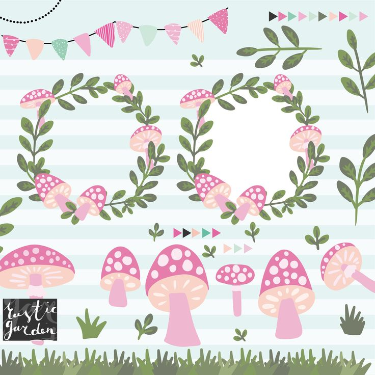 PINK MUSHROOM clipart. Frame borders bunting leaves grass
