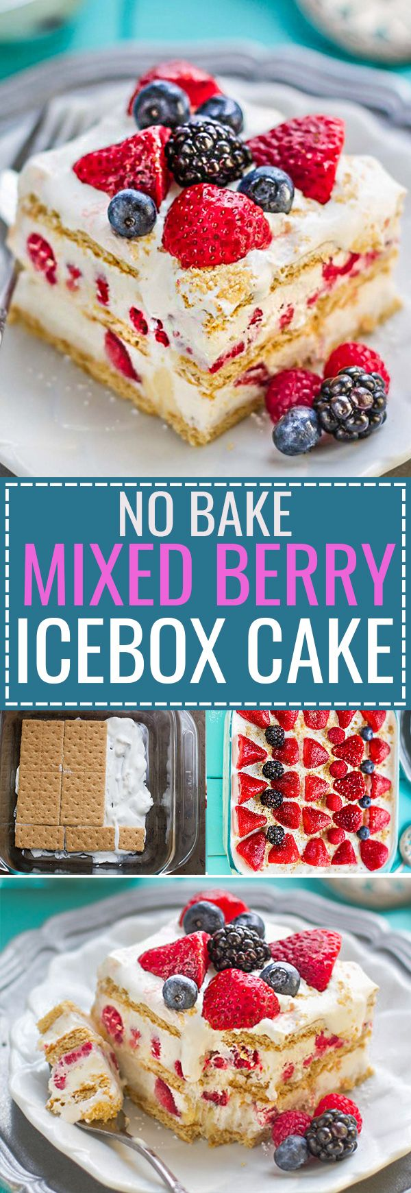 No Bake Mixed Summer Berry Icebox Cake is the perfect easy dessert for potlucks, barbecues, cookouts, picnics, baby showers, or any Fourth of July or Memorial Day party with the red, white and blue theme. Best of all, instead of triple, it's got four berries - strawberries, blackberries, blueberries and raspberries with 10 minutes of prep time containing fresh whipped cream, cream cheese & graham crackers.