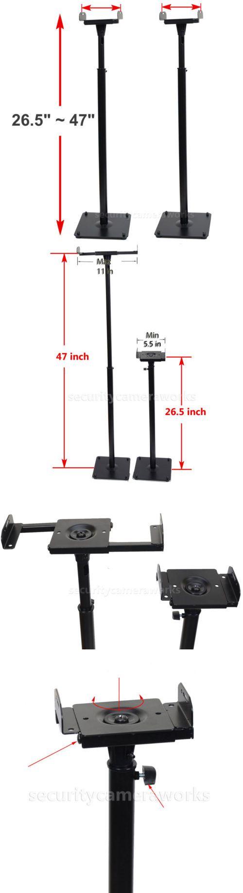 Speaker Mounts and Stands: 2 Surround Sound Bookshelf Floor Speaker Stands Side Clamp Heavy Duty Mounts Bjr BUY IT NOW ONLY: $48.7