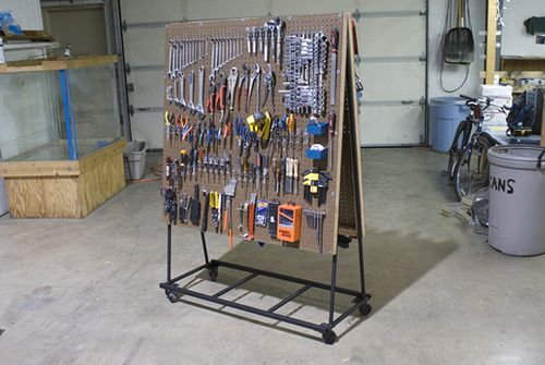 Garage/workshop peg board organization link