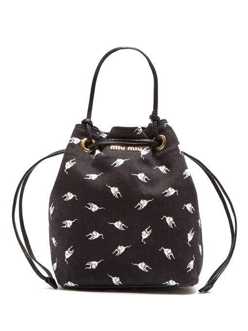 MIU MIU Cat-print denim bucket pouch.  miumiu  pouch  423dc12b90603