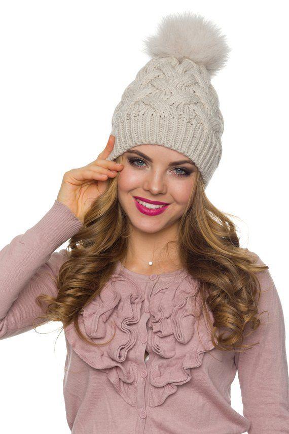 07d0bddee90 White knit hat Pom pom hat with fur white Womens pom beanie