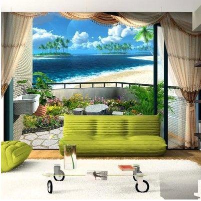 Custom 3d Mural Wall Paper Beach Blue Sky / Clouds Stylish Minimalist  Living Room Bedroom Mediterranean 3d Photo Wallpaper