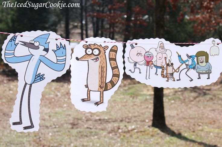 Regular Show Birthday Party DIY Idea Flag Hanging Banner-Mordecai, Rigby, Pops, Benson, Skips, Muscle Man, High Five Ghost