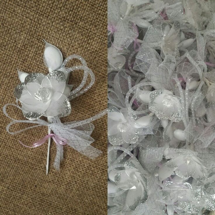 wedding flavors in a silver flower with glitter