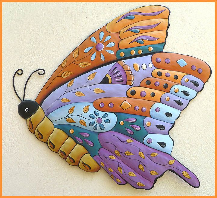 273 Best Images About Butterflies, Hand Painted Metal Butterfly