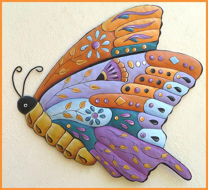 301 best butterflies, hand painted metal butterfly art, wall art