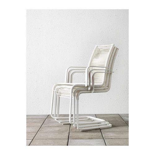 VÄSMAN Stol med armlener, utendørs - hvit - IKEA