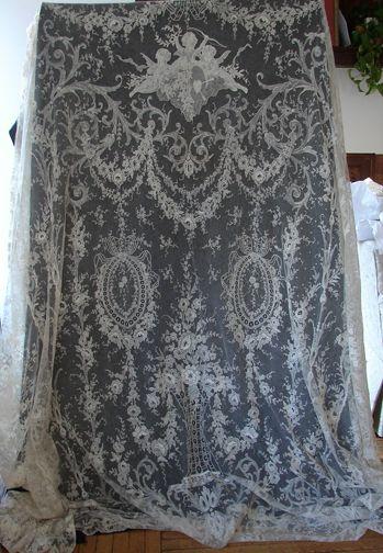 Maria Niforos - Fine Antique Lace, Linens & Textiles : Antique Lace # LA-71 Rare & Exquisite Blonde Chantilly Lace Bedspread w/ Cherubs
