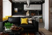 Современная кухня с островом,зонирование кухни гостиной, ковер в гостиной
