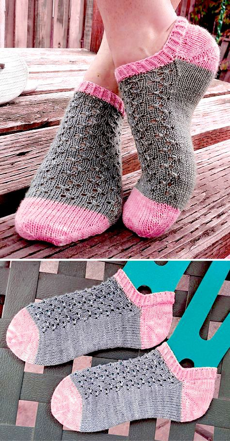 Knitted Ankle Socks with Lace – Free Pattern