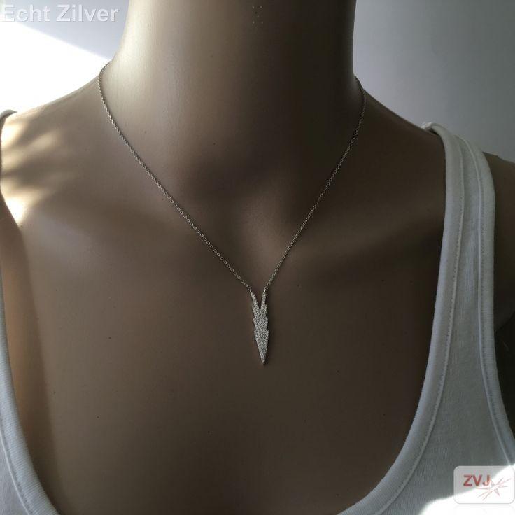 Zilveren sierlijke ketting ingelegd met witte zirkonia - ZilverVoorJou Echt 925 zilveren sieraden