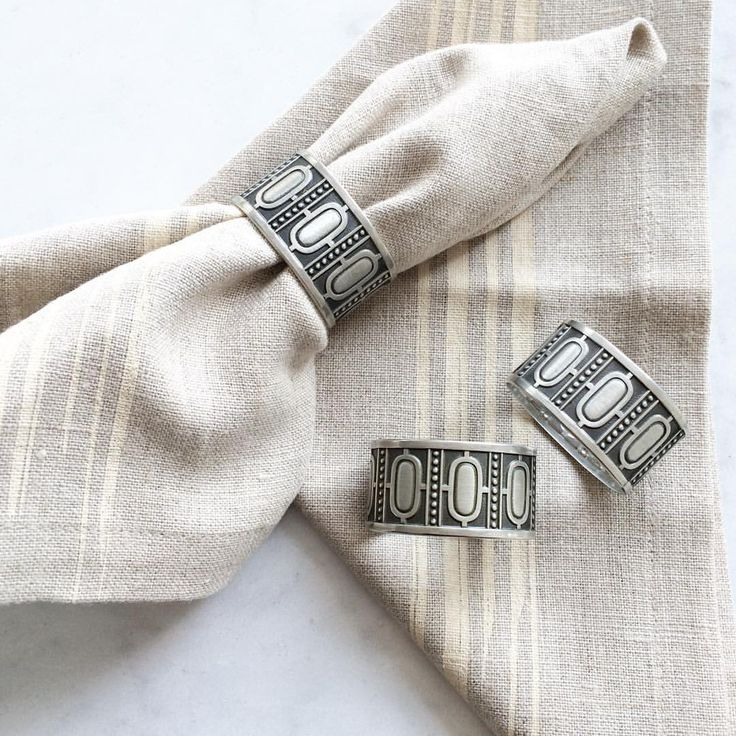 As soon as we found these striking #vintage napkin rings we knew the 1970s #midcentury #design would pair perfectly with our @natalie_gerber #linen napkins #casa #housewarming #gift #shoplocal #oldisgold #yyc #sunday #shop