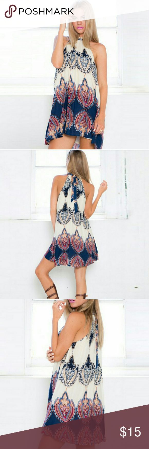 """Sexy Women Boho Mini Dress Very sexy and fresh floral sundress. Color: Navy-White. Material : Cotton blend. Size: Medium Measures : Bust 37""""in. Length 30""""in. Ealey Fuchi Dresses Mini"""