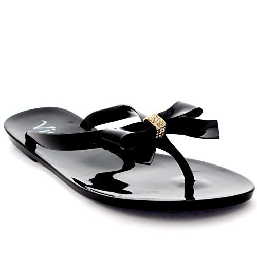 perfect Womens Beach Summer Vacation Shoes Jelly Bow Flip Flops Slip On Sandals