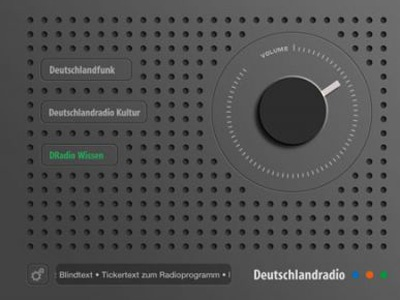 Retro design of the new Deutschlandradio iPad App which is giving worldwide access to the live streams of the three German national radio programs.