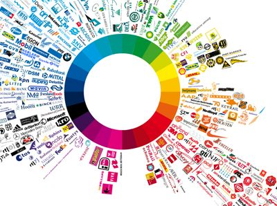 This logo wheel organizes popular logos by color. Organizing information by category is a staple method of organization, and organizing by color is something it seems doctors' offices have been doing since the beginning of time! That said, I like this example because the organizational scheme allows you to see a trend: that popular logos are largely red and cyan, which on nearly opposite points of the color spectrum. (Pinned by Heidi Sax)