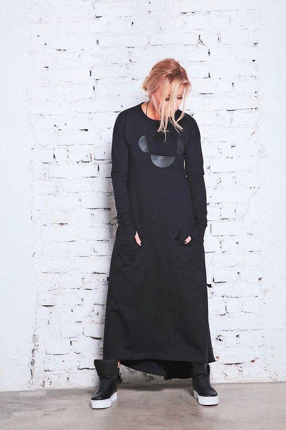 Womens Sweater Dress/ Long Cotton Dress/ Winter Maxi Dress/
