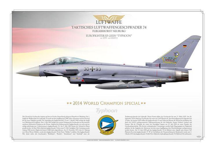 LUFTWAFFE . GERMAN AIR FORCETaktisches Luftwaffengeschwader 74 TaktLwG 74 . Fliegerhorst NeuburgSpecial tail artwork color for 2014 Soccer World Champion