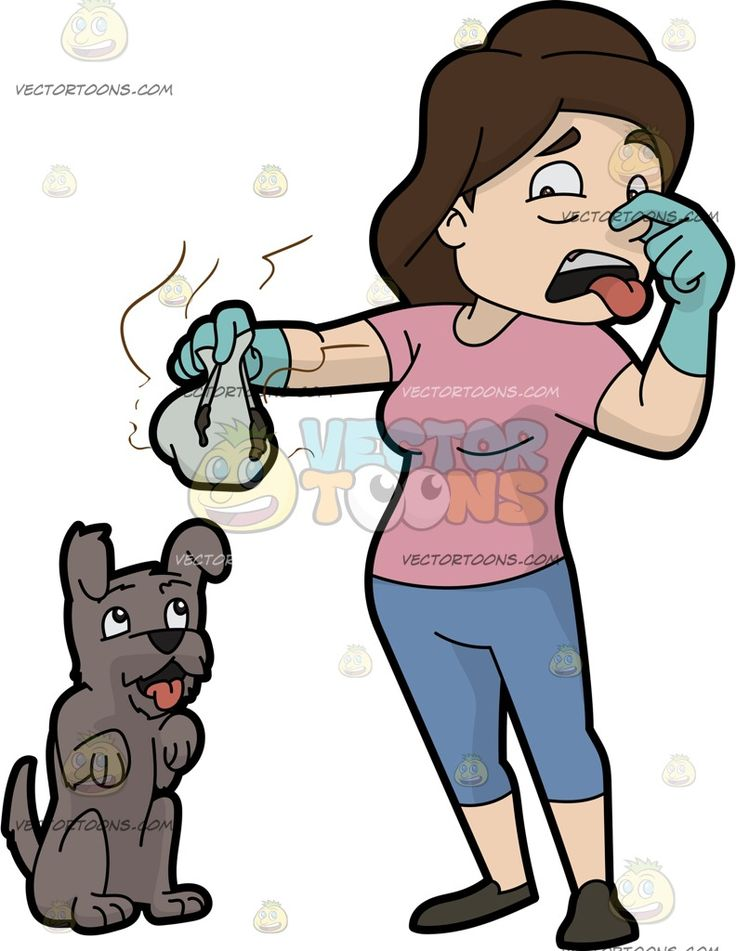 A Woman Picking Up The Stinky Poo Of Her Dog:  A woman with brown hair wearing a pink shirt light grayish blue cropped pants dark gray shoes teal gloves pinches her nose with her left hand as she holds a gray paper sack with a stinky poo of her excited gray dog  The post A Woman Picking Up The Stinky Poo Of Her Dog appeared first on VectorToons.com.  #clipart #people #cartoon #vector #vectortoons