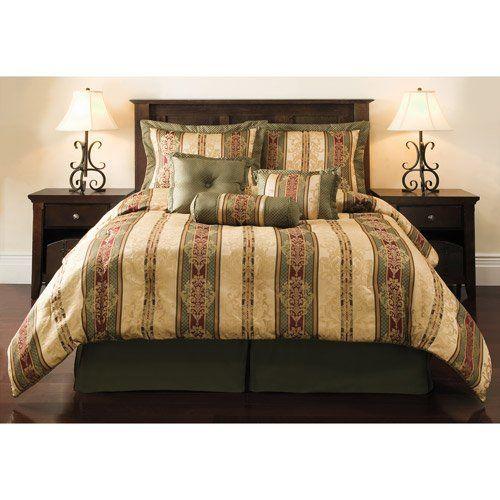 dakota jacquard bedding comforter set greengold king size