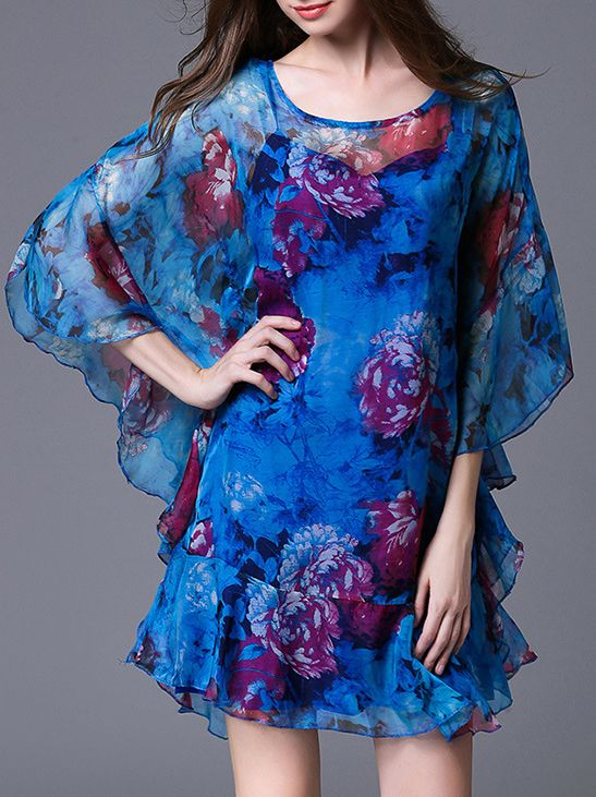 Shop Blue Batwing Sleeve Print Ruffle Dress online. SheIn offers Blue Batwing Sleeve Print Ruffle Dress & more to fit your fashionable needs.