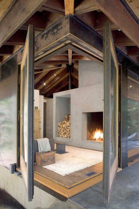 : Interior, Idea, Small House, Architecture, Fireplace, Corner Window, Design