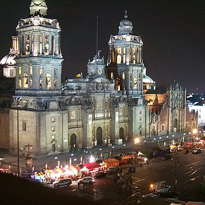 In Mexico City's Zocalo you can find the Cathedral and National Palace.