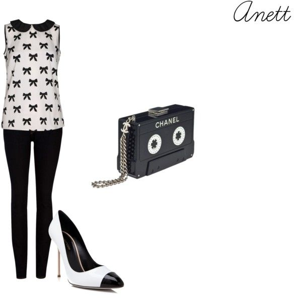 """""""Untitled #32"""" by anett-keberlova on Polyvore #polyvore #outfit #black #white #boohoo #bow #johnlewis #chanel #pump #sergiorossi"""