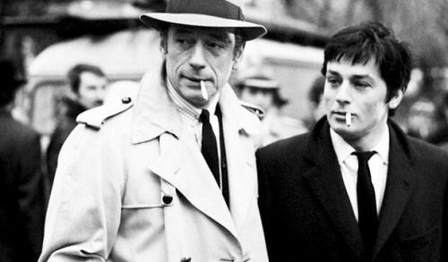 """mabellonghetti:  """""""" Yves Montand, Alain Delon and Jean-Pierre Melville On the set of Le Cercle Rouge, 1970  """" """""""