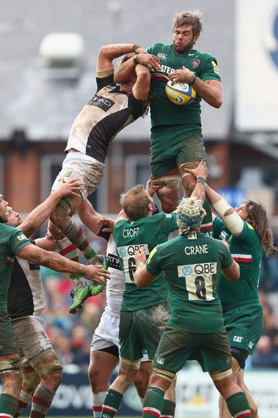Geoff Parling (R) of Leicester Tigers claims the ball at a lineout during the Aviva Premiership match between Leicester Tigers and Harlequins at Welford Road on May 11, 2013 in Leicester, England.